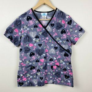 SB Scrubs Scrub Top Breast Cancer Print Short Sl S